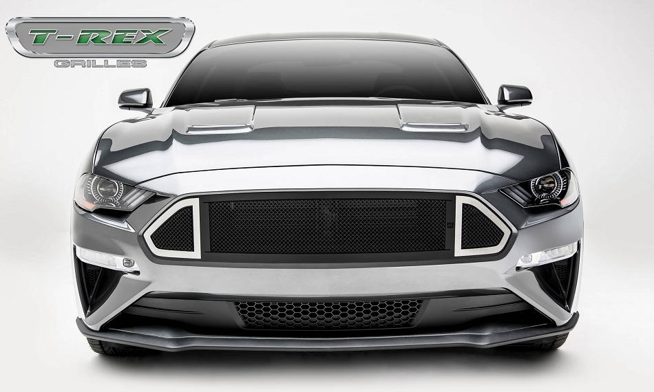T-Rex Grilles Mustang DJ Series Main Grille insert Black with Stainless Accent Trim (2018-2021)