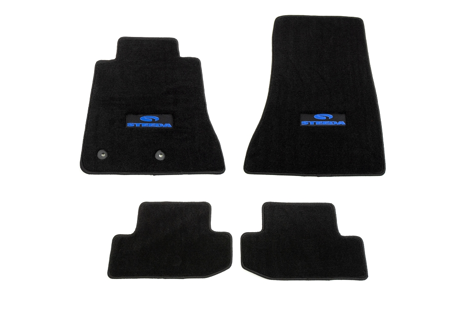 Steeda Mustang Front & Rear Floor Mats - Black/Blue Logo (2015-2021)