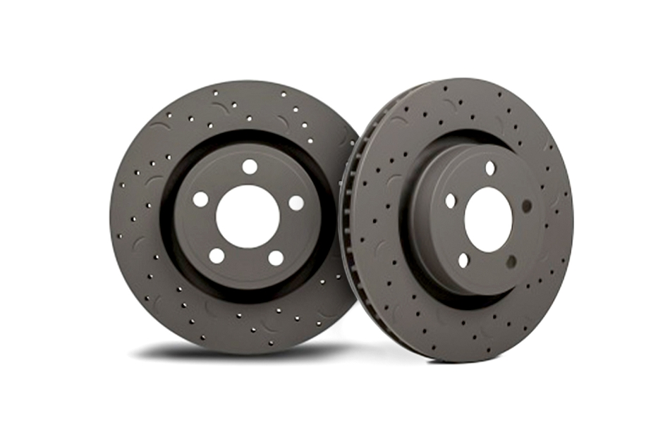 Hawk Fusion Talon Drilled & Slotted Rear Brake Rotor - Pair (2006-2012)