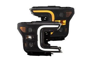 Anzo F-150 Projector Headlights W/ Plank Stlye Switch Back Black W/ Amber (2018-2019)