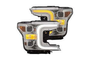 Anzo F-150 Projector Headlights W/ Plank Stlye Switch Back Chrome W/ Amber (2018-2019)