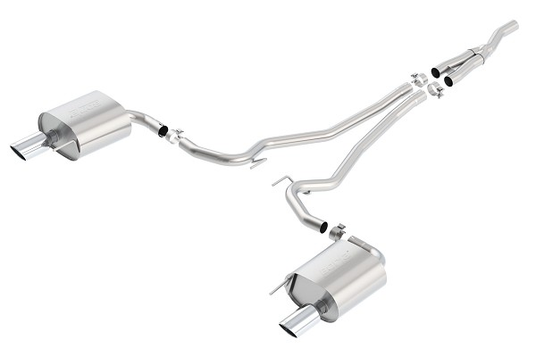 "Borla 2.3L EcoBoost Mustang 2.25"" Single-Split S-Type Cat-Back Exhaust System w/ 4"" Polished Tips (2015-2020)"