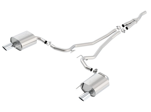 "Borla 2.3L EcoBoost Mustang 2.25"" Single-Split ATAK Cat-Back Exhaust System w/ 4"" Polished Tips (2015-2020)"