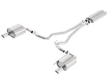 "Borla Mustang 3.7L V6 2.25"" Single Split Touring Cat-Back Exhaust w/ Chrome Tips (2015-2017)"