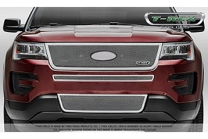 T-Rex Ford Explorer Upper Class Main Grille - Polished Stainless Steel Formed Mesh - Replacement w/ Logo Recess (2016-2017)
