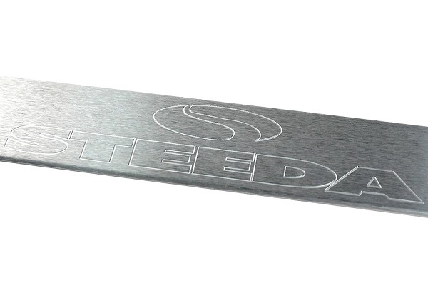 Steeda S197 Mustang Aluminum Door Sill Plates - Polished/Steeda Logo (05-14) DISCONTINUED