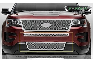 T-Rex Ford Explorer Upper Class- 2 Piece Overlay- Bumper Grille - Polished Stainless Steel Formed Mesh  (2016-2017)