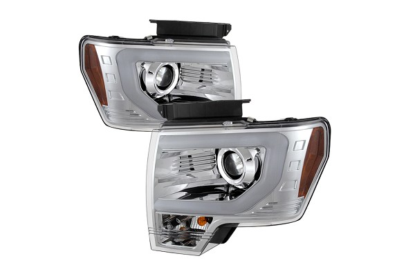 Spyder Projector Headlights w/ DRL Light Bar Chrome (09-14 F-150/Raptor)