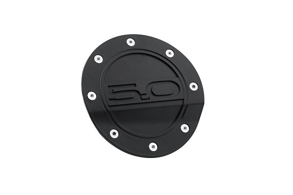 Drake Mustang Fuel Door Comp Series Matte Black With 5.0 Logo (2015-2021)