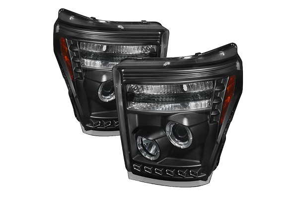 Spyder 2011-2016 F-250 / F-350 Black Projector Headlights w/ LED Halo-DRL