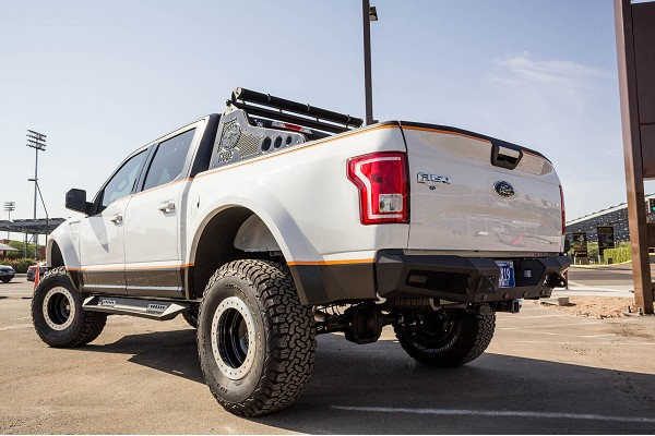 Addictive Desert Designs F-150 Honey Badger Rear Bumper w/ Backup Sensor Cutouts (2015-2020)