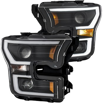 ANZO F-150 Projector Headlights w/ Plank Style Design - Black w/ Amber (2015-2017)