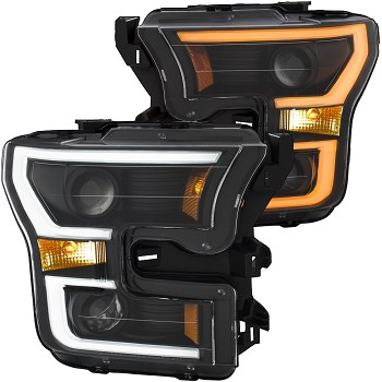 ANZO F-150 Projector Headlights w/ Plank Style Switchback - Black w/ Amber (2015-2017)