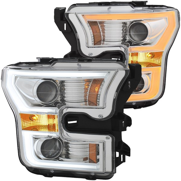 ANZO F-150 Projector Headlights w/ Plank Style Switchback - Chrome w/ Amber (2015-2017)