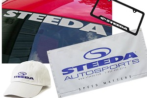 Steeda Silver Windshield Banner, Garage Banner, License Plate Frame & Steeda Cap
