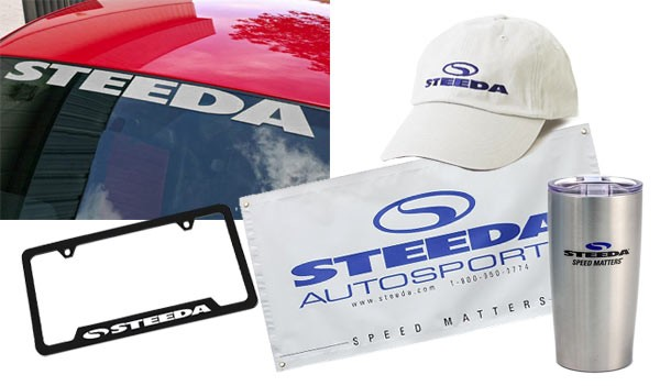 Steeda Silver Windshield Banner, Garage Banner, License Plate Frame, Steeda Cap & Steeda Tumbler