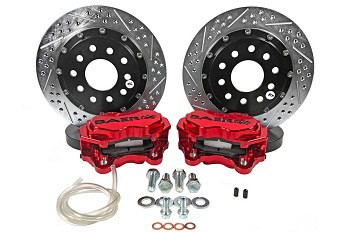 "Baer SS4+ Deep Stage Drag Race S550 Mustang GT/V6/EcoBoost 11"" Rear Brake System w/ Red Caliper (2015-2019)"