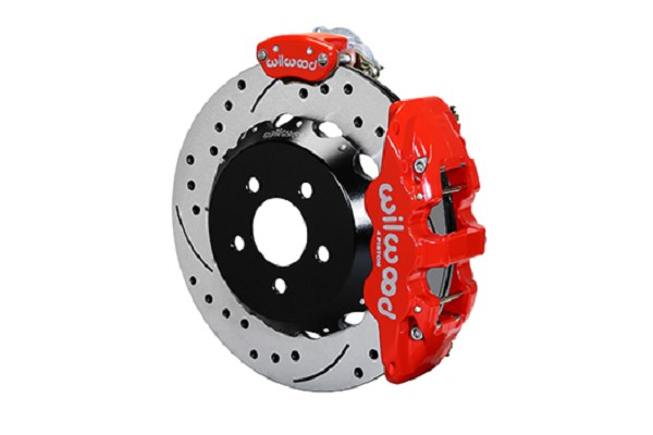 "Wilwood AERO4-MC4 S550 Mustang Street Rear Parking Brake Kit - 14"" Slotted Drilled Rotors Red 4 Piston Calipers (2015-2019 ALL)"
