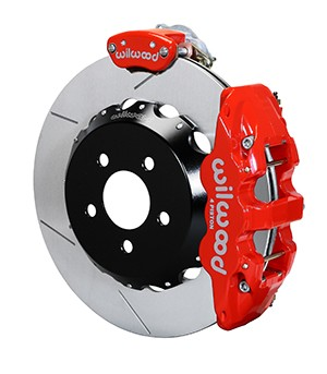 "Wilwood AERO4-MC4 S550 Mustang Street Rear Parking Brake Kit - 14"" Slotted Rotors Red 4 Piston Calipers (2015-2020 ALL)"