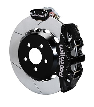 "Wilwood AERO4-MC4 S550 Mustang Street Rear Parking Brake Kit - 14"" Slotted Rotors Black 4 Piston Calipers (2015-2019 ALL)"