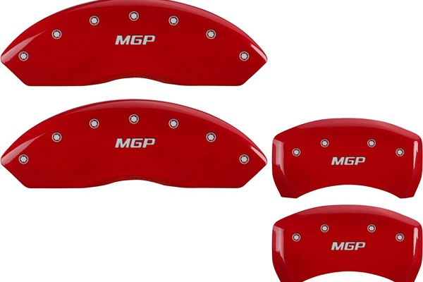 MGP Mustang Caliper Covers - Red  w/ MGP Logo - Front & Rear (05-10 GT, Bullitt, V6)
