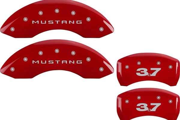 MGP Mustang Caliper Covers - Red  w/ 3.7 Logo - Front & Rear (11-14 V6)