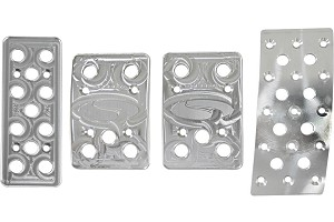 Steeda Aluminum Mustang Pedal Covers - 4 Piece/Curved Gas (79-04 Manual)
