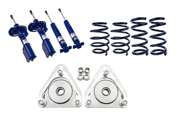 Steeda S550 Mustang Linear Lowering Springs, Camber Plate, Adjustable Shocks, Strut Combo Kit (2015-2021)
