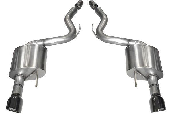 "Corsa 3"" Axle-Back, Dual Rear Exit w/ Single 4.5"" Black PVD Pro-Series Tips (15-17 GT)"
