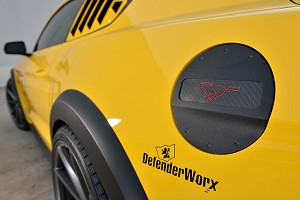 DefenderWorx Mustang Pony Red Logo Fuel Door - Black (2015-2020)