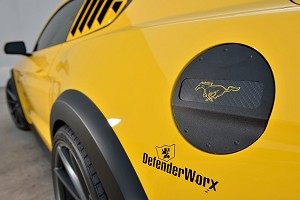 DefenderWorx Mustang Pony Yellow Logo Fuel Door - Black (2015-2020)