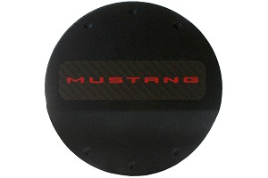 DefenderWorx Mustang Red Logo Fuel Door - Black (2015-2020)