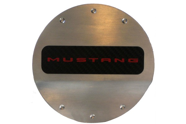 DefenderWorx Mustang Red Logo Fuel Door (2015-2021)