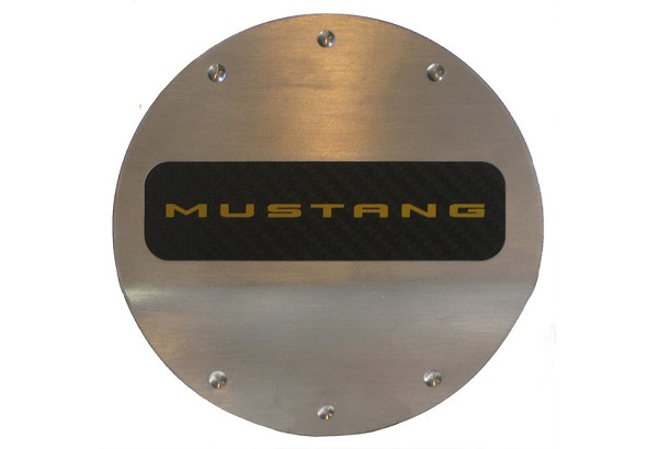 DefenderWorx Mustang Yellow Logo Fuel Door (2015-2020)