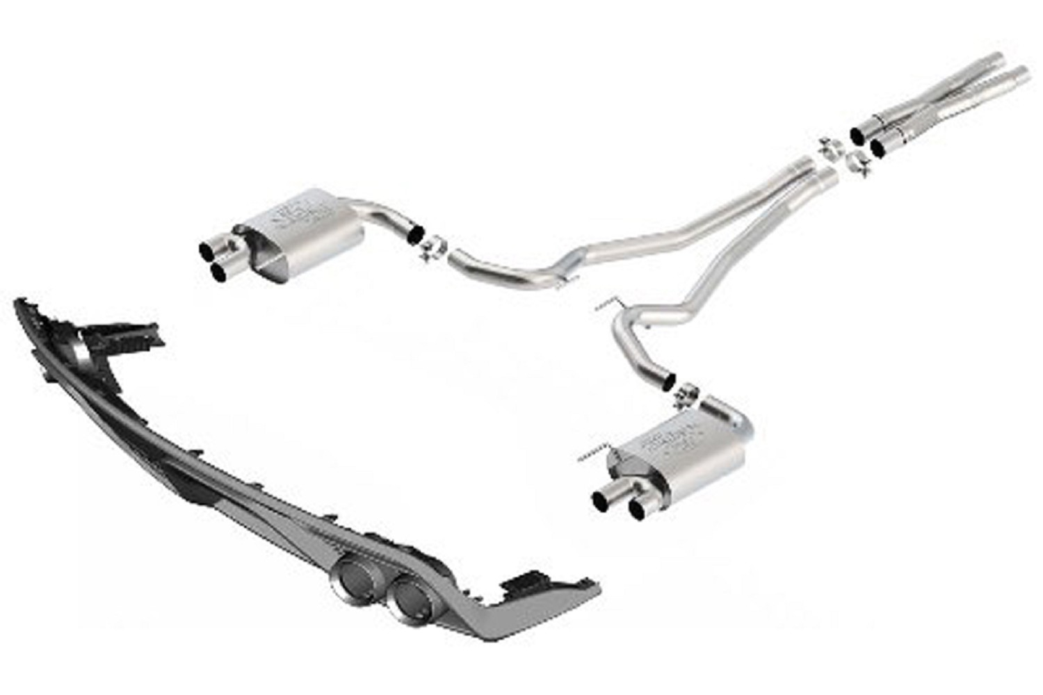 Ford performance mustang gt quad tip touring cat back exhaust w gt350 rear valance 15 17 gt 161 m 5200 m8tbv free shipping steeda autosports