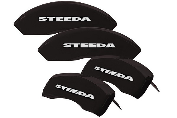 Steeda Black Mustang Caliper Covers w/ Silver Steeda - Front & Rear (05-10 GT, V6) Discontinued