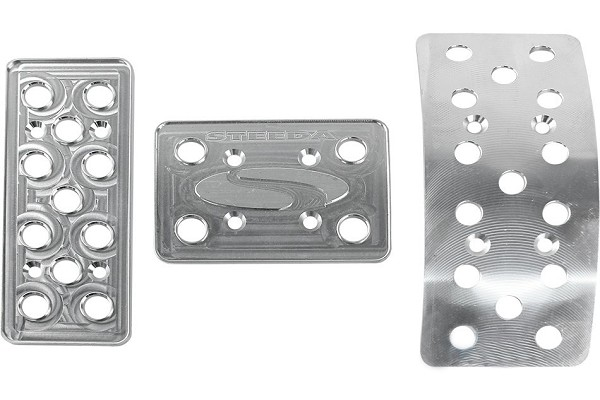 (DISCONTINUED) Steeda Aluminum Mustang Pedal Covers - 3 Piece/Flat Gas (79-04 Auto) DISCONTINUED
