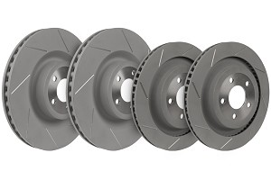 Steeda Mustang GT PP Slotted Front and Rear Brake Rotors (2015-2019 GT)