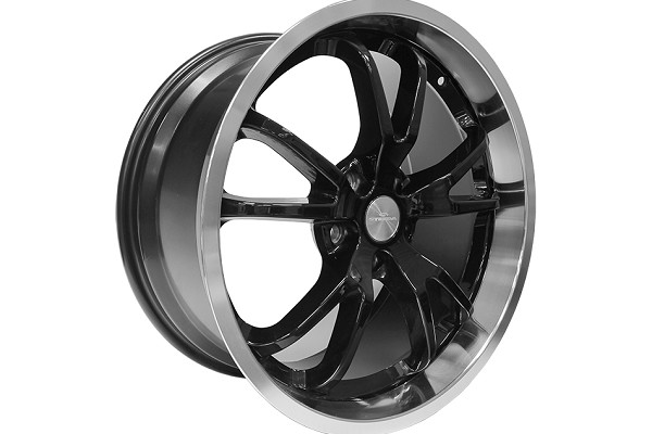 Steeda Mustang Spyder Wheel - Black w/ Machined Lip - 20x11 (2015-2019)