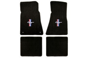 Lloyd Mats Mustang Black Floor Mats w/ Pony and Tribar Logo (1979-1993)