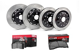 Steeda S550 Performance Pack Mustang GT Front & Rear Two-Piece 380mm x 34mm Floating Rotors w/ Hawk HPS 5.0 Pads  (2015-2018)