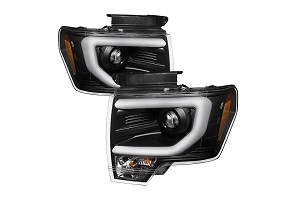 Spyder Projector Headlights w/ DRL Light Bar Black (09-14 F-150/Raptor)