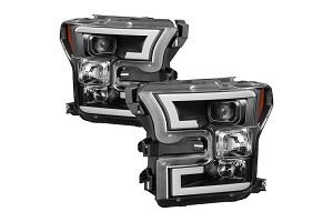 Spyder F-150 LED Light Bar Projector Headlights Black (15-17)