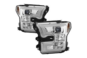Spyder F150 LED Light Bar Projector Headlights Chrome (15-17)