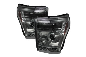 Spyder 2011-2016 F-250 / F-350 Smoke Projector Headlights W/ LED Halo-DRL