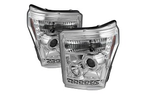 Spyder 2011-2016 F-250 / F-350 Chrome Projector Headlights w/ LED Halo-DRL