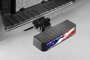 WeatherTech USA Waving Flag Bumper step / Bumper Protector Black Ford F Series Truck & Explorer