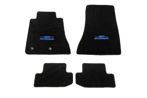 Steeda S550 Mustang Front & Rear Floor Mats - Black/Blue Logo (2015-2019)